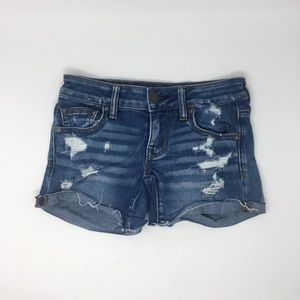 AEO Super Stretch Distressed Super Low Shorties